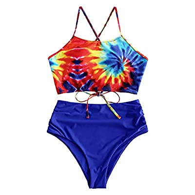 Material: Nylon,Polyester,Spandex Our Size: S--US 4, M--US 6, L--US 8,XL--US 10,2XL--US 12 Padded Bra, High Waisted,Good Elasticity This spaghetti straps bikini set features a sunflower tank style top with lace up back closure and high waisted bottom...