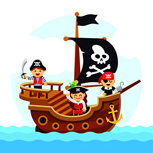 Colorful Kids Colorful Pirate Ship Wall Decals - Boys Room Pirates Ships Kids Decor Sticker Room Decoration for Bedrooms - Stickers Sticker Boy Designs Size 20x20 inch