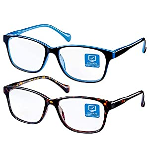 【PACKING INCLUDES】: 1. Two pairs anti-blue ray computer glasses, which can minimize the eyestrain caused by harmful blue ray emitted from digital screens. Resin lens,super lightweight can cut 90% harmful blue light 2. Complimentary frame packing clot...
