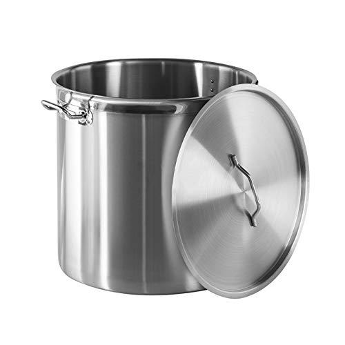 YOXU Pentola Con Coperchio Acciaio Inox 18/10 Cucina Catering Ristorante Aisi 304 (Diametro 40 Cm Altezza 40 Cm Volume 50 Litri)