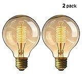 KINGSO 2 Pack E27 Edison Ampoule à Incandescence Vintage Globe Lampe Filament Rétro G80 60W 220V Blanc Chaud Idéal pour Décoration Luminaire Antique