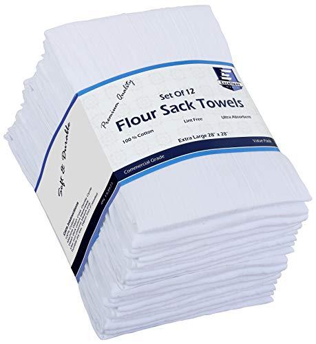"""Flour Sack Kitchen Towels (White,12 Pack) 100% Cotton,28x28"""", By Excellent Deals"""