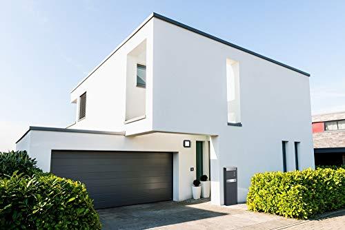 Frabox® Standbriefkasten NAMUR in anthrazitgrau RAL 7016 / Edelstahl mit Hausnummer & Namen - 5