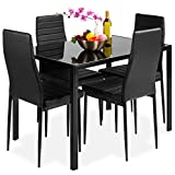 Best Choice Products 5-Piece Kitchen Dining Table Set for Dining Room, Kitchen, Dinette, Compact Space w/Glass Table Top, 4 Faux Leather Metal Frame Chairs - Black