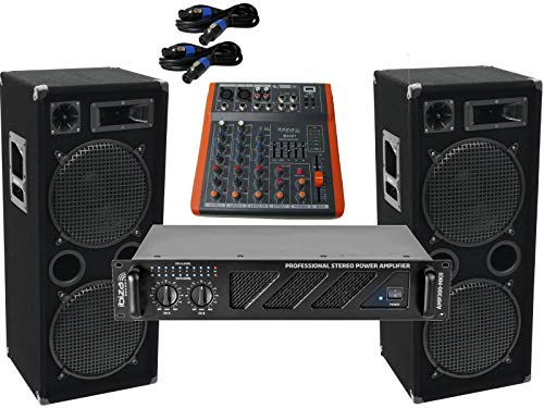 Das PA-SET 50 Power Ibiza Anlage DJ 3Wege 4 x 30 cm Bass USB Musikanlage 3000 W