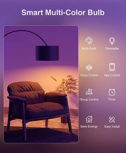 Smart Light Bulbs, Color Changing Dimmable LED WiFi Bulbs Work with Alexa and Google Home, RGB Multicolor and Warm White A19 E26 75W Equivalent Bulbs, 2.4GHz WiFi Only, No Hub Required, 4 Pack 12