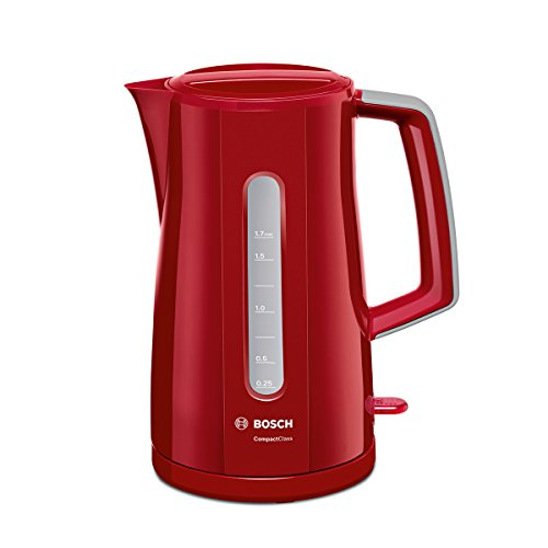 Bosch TWK3A014 CompactClass kabellloser Wasserkocher, schnelles Aufheizen, Wasserstandsanzeige beidseitig, Überhitzungsschutz, 1,7 L, 2400 W, rot