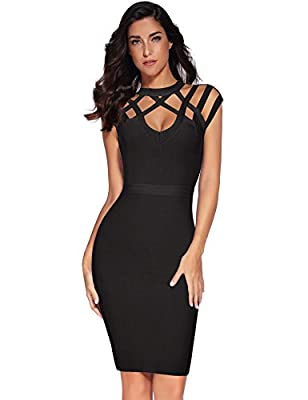 Fabric: 90% Rayon 9% Nylon 1% Spandex. which is real bandage material and heavyweight stretch bandage fabric. Model Detail(Size S): Hight:5'7 ; Bust:34.3'' ; Waist:26'' ; Hip:34.6'' The sexy cross v neck is offset by the flattering knee length skirt ...