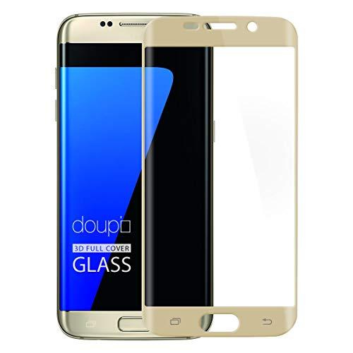 doupi FullCover Protector de Pantalla Compatible con Samsung Galaxy S7 Edge, Cobertura Completa 3D 9H HD Duro Vidrio Templado, Dorado