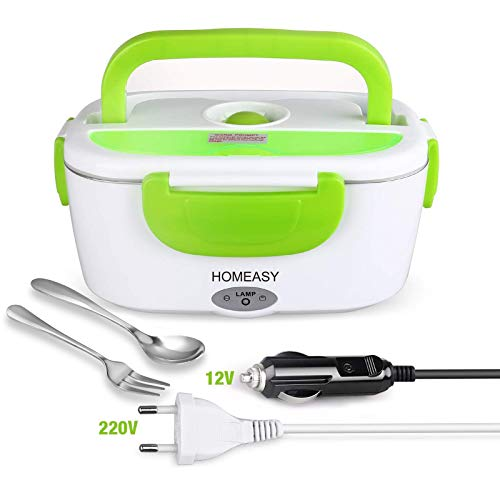 HOMEASY Electric Lunch Box 12V & 220V, Portable Electric Food Warmer for Car and Work, 1.5L Thermos for Hot Food Stainless Steel, Perfect for Home, Camping and Office (Green)