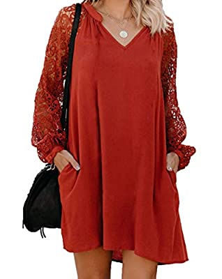 Pull On closure Features: Ruffle sleeves, High low curved hem, Solid color, Irregular hem layer dresses,Flared sleeves ,Asymmetrical a line dress ,Crew neck,Loose fit, Long tail,Feminine and Flowy Simple but chic loose fitting shirt dress with long a...