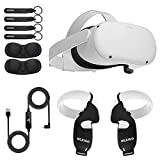 Oculus 2020 Newest Quest 2 VR Headset 256GB Holiday Bundle, Advanced All-in-One Virtual Reality Headset, NexiGo Controller Grip Cover Black + Knuckle Strap Black + Lens Cover + 16FT Link Cable Bundle