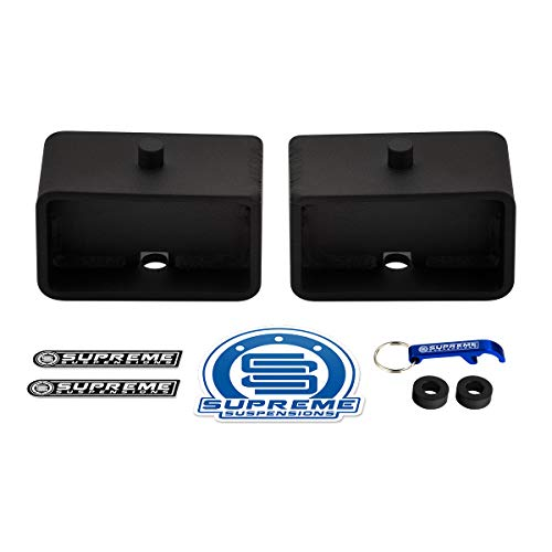 Supreme Suspensions - 3' Rear Tapered Steel Lift Blocks Kit for 1999-2020 Chevrolet Silverado 1500 and GMC Sierra 1500 6-Lug [2WD 4WD]
