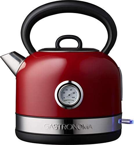 Gastronoma 18130001 Retro Edel Wasserkocher 1,70 Liter Temperaturanzeige Rot Metallic abnehmbar von Basis
