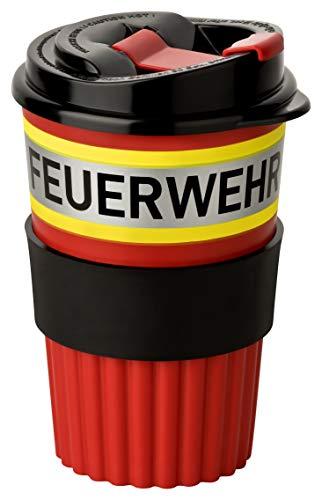 PACO Feuerwehr to-Go Coffee Becher rot mit gelb-Silber-gelb Streifen in Feuerwehroptik, 350ml, mit...