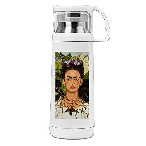 Frida kahlo. Jpg Thermos botella de agua con un mango aislado al vacío taza