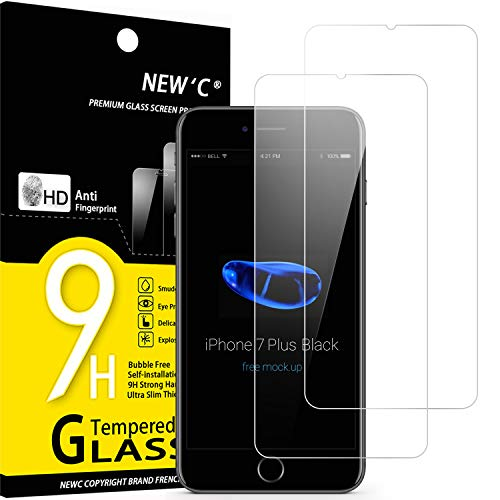 NEW'C 2 Pezzi, Vetro Temperato per iPhone 7 Plus e iPhone 8 Plus, Pellicola Prottetiva Anti Graffio, Anti-Impronte, Senza Bolle, Durezza 9H, 0,33mm Ultra Trasparente, Ultra Resistente