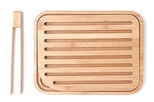 Pebbly nba055Set Brotschneidebrett und Toastzange, Bambus beige 26x 20x 2cm 2Einheit (S)