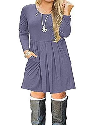 ♥【Soft Material】: Material: 95%Rayon 5%Spandex,It is a lightweight, loose,stretchy,soft and comfortable fabric,easy to love wearing all day long. ♥【Stylish Design】This uniquely designed pleated loose swing casual dress knee length . It combines a rou...