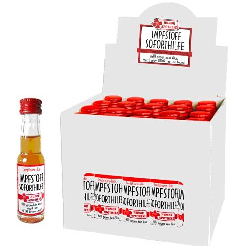 Kleiner Impfstoff Sofort Hilfe | Humormedizin | Scherzartikel für Erwachsene | Der erste Impfstoff gegen das Virus kommt aus unserer Humor Apotheke (Kleiner Impfstoff: - 20er Box Waldmeister-Likör -)