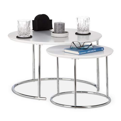 Relaxdays rund, Kleiner Couchtisch matt, Satztisch Holz und Metall, verchromt Beistelltisch 2er Set, MDF, Weiß, 60 x 60 x 35 cm
