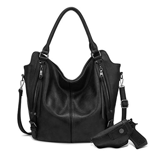 """41XQC9bPbCL Concealed Carry Bag: Righty or Lefty Friendly. Comes with detachable holster secured by Magnetic button. The front pocket to hold your gun in holster safe and secure in case you need it Large Capacity Purses: 13.4"""" at Bottom(rise to 18.9"""" at Top) x 6.5"""" x 14.6"""" (L x W x H), Handle Height: 10.2"""". This women bag comes with a long removable and adjustable shoulder strap Classic Hobo Purse: High quality anti-scratch PU leather, Top zipper closure, 2 front zipper pockets with elegant tassels design, 1 back pocket, fashionable and practical handbags for women"""