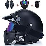 GPTBY Integral Arborist Helmet Motorcycle Helmet Retro Vintage Synthetic Leather Open Face Helmet Motorbike Scooter Cruiser Chopper Casco Moto Helmet DOT (Color : 3, Size : XL)