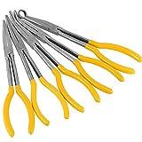 HAKZEON 5 PCS 11 Inches Long Nose Pliers Set, Long Needle Nose Pliers Set, Long Reach Pliers Set, Straight, 25 Degrees, 45 Degrees, 90 Degrees and Round Pliers