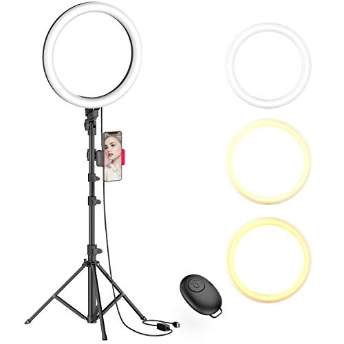 "10"" Selfie Ring Light with Tripod Stand & Phone Holder for Live Stream/Makeup, Dimmable Led Camera Beauty Ringlight for YouTube TikTok/Photography Compatible for iPhone and Android Phone(Upgraded)"