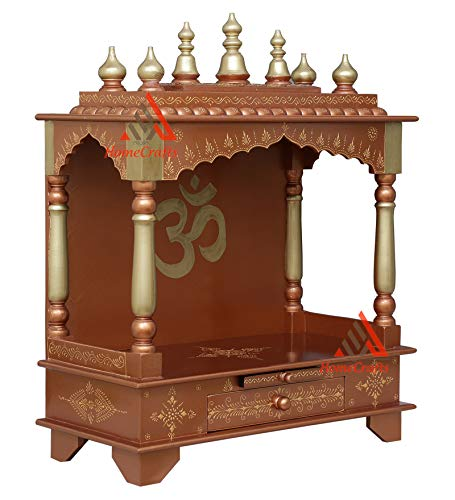 HomeCrafts Home Temple, Wooden Temple, Pooja Mandir for Home (Golden, Large- 24 X 12 X 30 (WXDXH) inch)