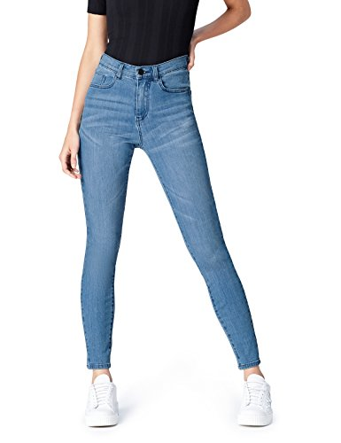 Amazon-Marke: find. Damen Skinny Jeans mit hohem Bund, Blau (Light...