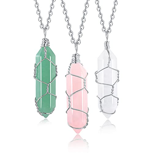 XIANNVXI 3Pcs Healing Crystal Stone Necklace Rose Quartz...