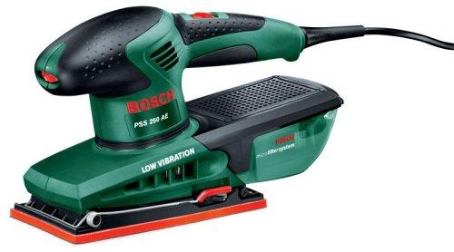 Ponceuse vibrante Bosch - PSS 250 AE (250 W, librée avec coffret de rangement, feuille abrasive P80, P120, P180)