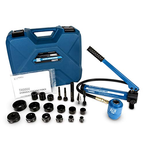 TEMCo Hydraulic Knockout Punch TH0004 - Electrical Conduit Hole Cutter Set...
