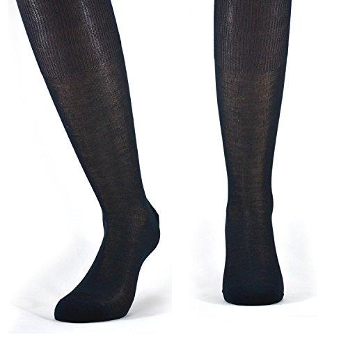 Fontana Calze, 6 paia di calze UOMO lunghe in 100% Cotone Filo di Scozia. BLU TG 42/44,5