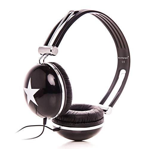 RockPapa OV820S DJ Cuffie per Bambini/Adulti, Regolabile, Over-Ear per Smartphone, Tablet, MP3/4, DVD, iPod, iPad, iPhone Nero