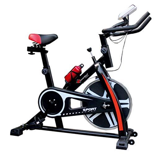 PowerMax Fitness BS-130 Steel Exercise Spin Bike With 6 Kg Flywheel, LCD Display & Bottle Holder, Black