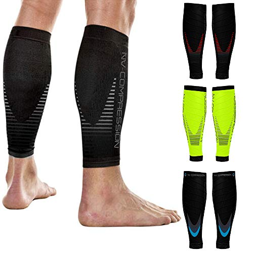 NV Compression Race and Recover Fußlose Kompressionsstrümpfe - Wadenstütze Kompression Compression Calf Sleeves - for Sports, Laufen, Radfahren, Triathlon, Crossfit, Gym (Black/Grey, S-M)