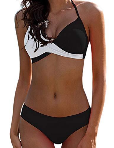 Bikini Elegante Traje de Baño Conjunto Bañador Halter Sexy Sólido para Mujer Ropa de...