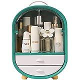 xiaohuozi Puerta Doble Grande Organizador de Maquillaje Impermeable a Prueba de Polvo de Escritorio Caja de Almacenamiento de Cosméticos Adecuado para Lavabo de Baño de Vanidad,Green