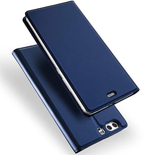 Verco Handyhülle für P10, Premium Handy Flip Cover für Huawei P10 Hülle [integr. Magnet] Book Case PU Leder Tasche, Blau