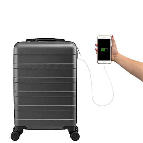 Cabin Max ANODE Valigia Rigida da Viaggio con Porta di Ricarica USB, Trolley Bagaglio a Mano con 4...