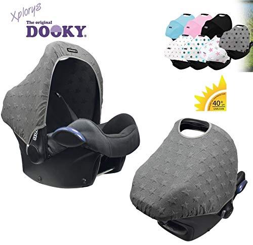 DOOKY HOODY Style UV+ Universal Verdeck für Maxi Cosi Cabrio/CabrioFix/Pebble/Citi, Römer und andere Babyschalen Gruppe 0+ als Sonnenschutz/Sonnenverdeck/RegenSchutz (Knitted Star)