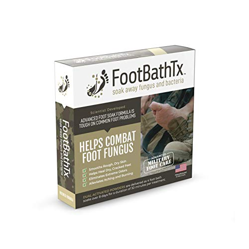 FootBathTx Foot Soak for Men – Advanced Foot Care to Eliminate Stinky Feet Odor, Itching, Burning, Hard, Dry, Flaky Skin – Military Grade Formula, Dual Action Powders, Made in USA