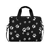 ALARGE - Funda para ordenador portátil, diseño de huellas de perro de 15 a 16 pulgadas, maletín de viaje, bolso de mensajero para ordenador portátil con asa de correa para mujeres y hombres