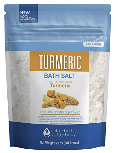 Turmeric Bath Salt 32 Ounces Epsom Salt with Natural Turmeric, Cinnamon, Ylang Ylang, Orange and Grapefruit Essential Oils Plus Vitamin C in BPA Free Pouch with Easy Press-Lock Seal