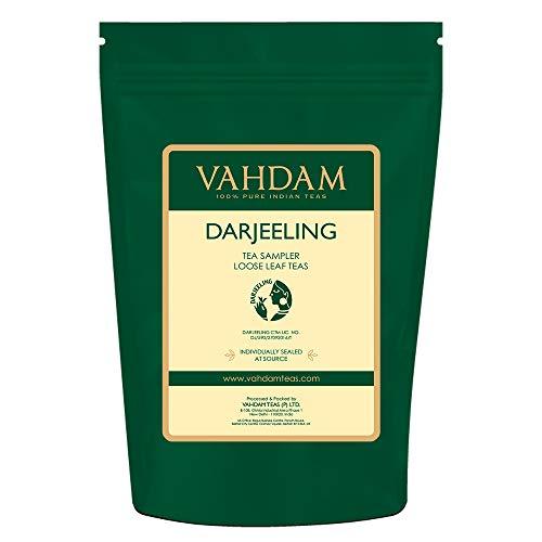 VAHDAM, Darjeeling Tea Sampler - 10 TEAS, 50 porzioni | Darjeeling foglia libera Darjeeling 100% puro non miscelato Darjeeling Primo Sciacquone, Secondo rossore, Rossoreare autunnale, 100 gm