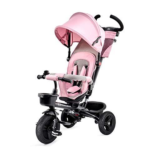 Kinderkraft Triciclo AVEO, Bici, Passeggino con Maniglione, Pieghevole, Accessori, per Bambini, 9 Mesi - 5 Anni, Rosa