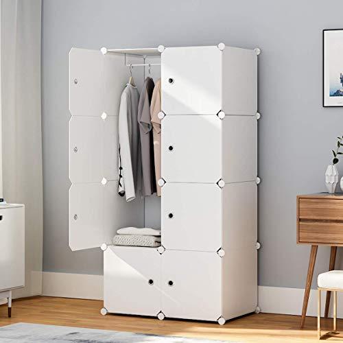 KOUSI Portable Wardrobe Closets 14'x18' Depth Cube Storage, Bedroom Armoire, Storage Organizer with Doors, 5 Cubes + 1 Hanger, White