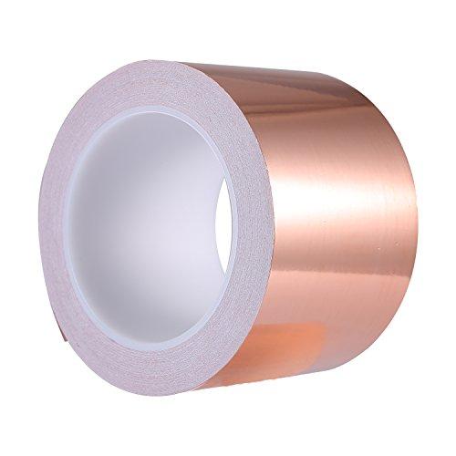 Zalava 70mm * 20M EMI Kapton Tape Klebeband Selbstklebend Abschirmband Kupferfolie Kupferband Schneckenschutz